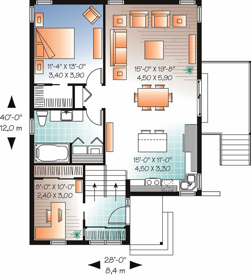 Home Plan DD-3318 First Floor