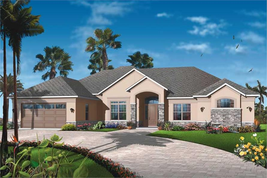 4-Bedroom, 2842 Sq Ft Ranch House Plan - 126-1802 - Front Exterior