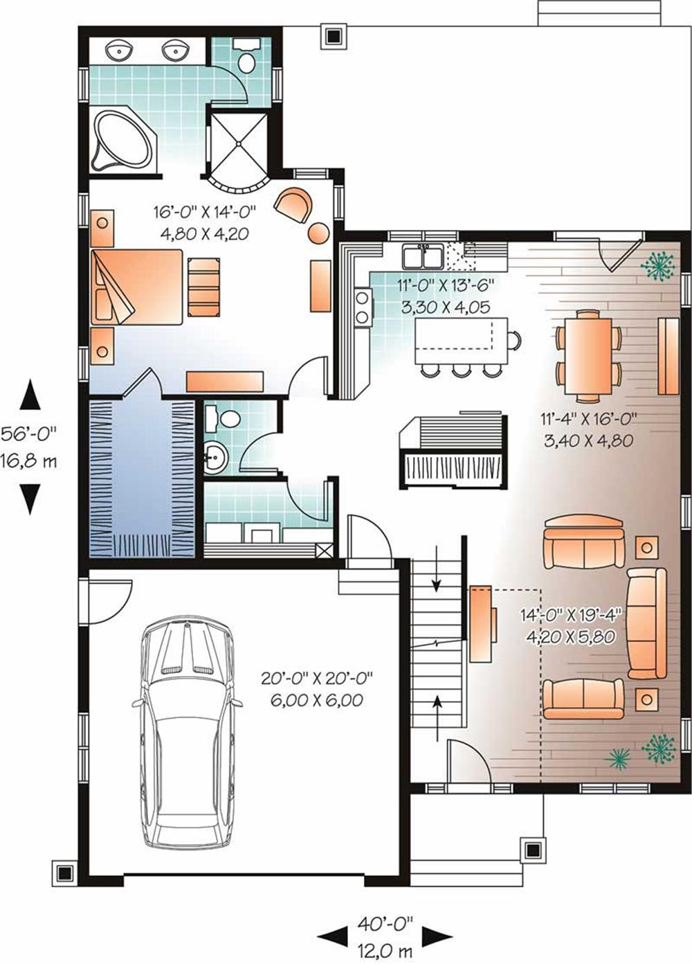 Home Plan DD-3608 First Floor