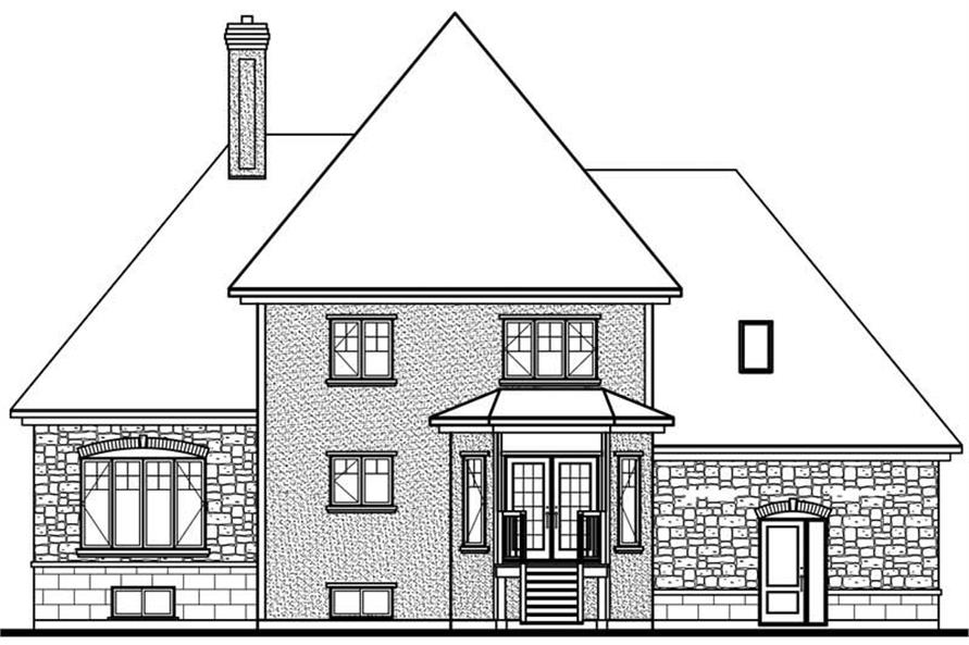 Home Plan Rear Elevation of this 3-Bedroom,2281 Sq Ft Plan -126-1814