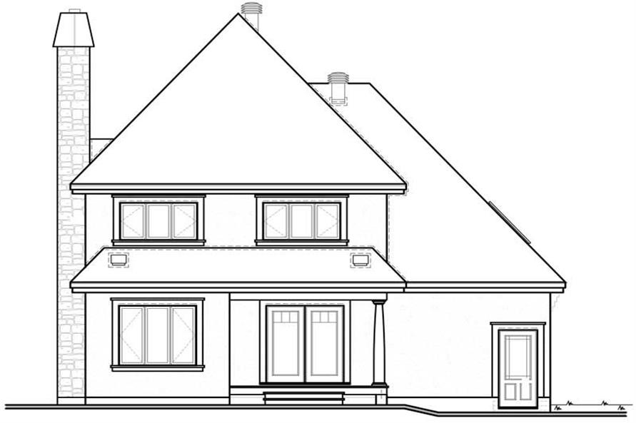 Home Plan Rear Elevation of this 3-Bedroom,1613 Sq Ft Plan -126-1817