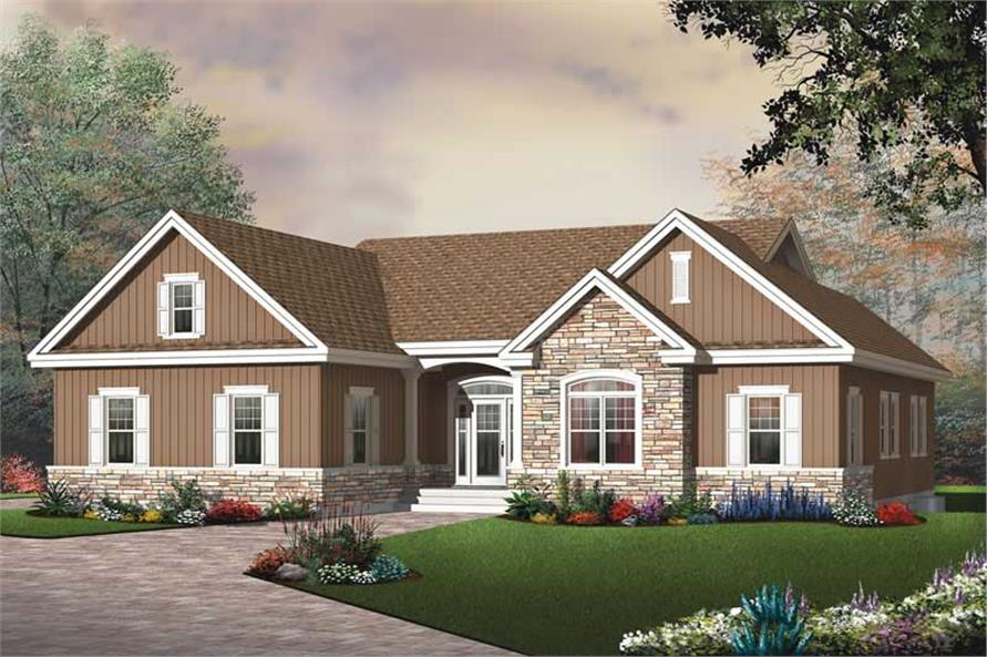 Home Plan Rendering of this 3-Bedroom,1808 Sq Ft Plan -1808