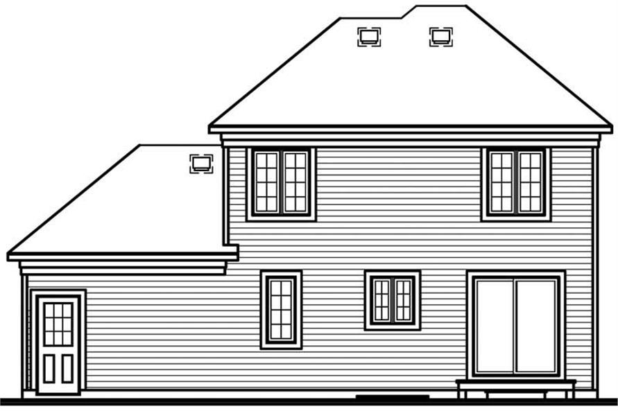 Home Plan Rear Elevation of this 3-Bedroom,1404 Sq Ft Plan -126-1825