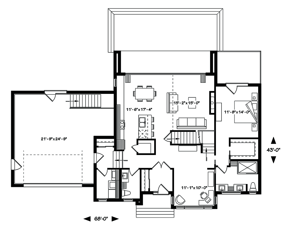 4 bedrm 2142 sq ft contemporary house plan 126 1830 for 10 x 11 room square feet