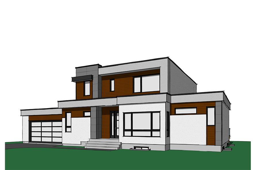 4-Bedroom, 2142 Sq Ft Contemporary House Plan - 126-1830 - Front Exterior
