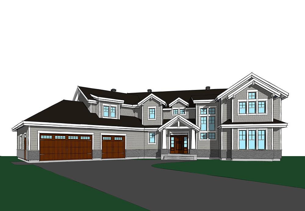 Rendering of Traditional home plan (ThePlanCollection: House Plan #126-1831)