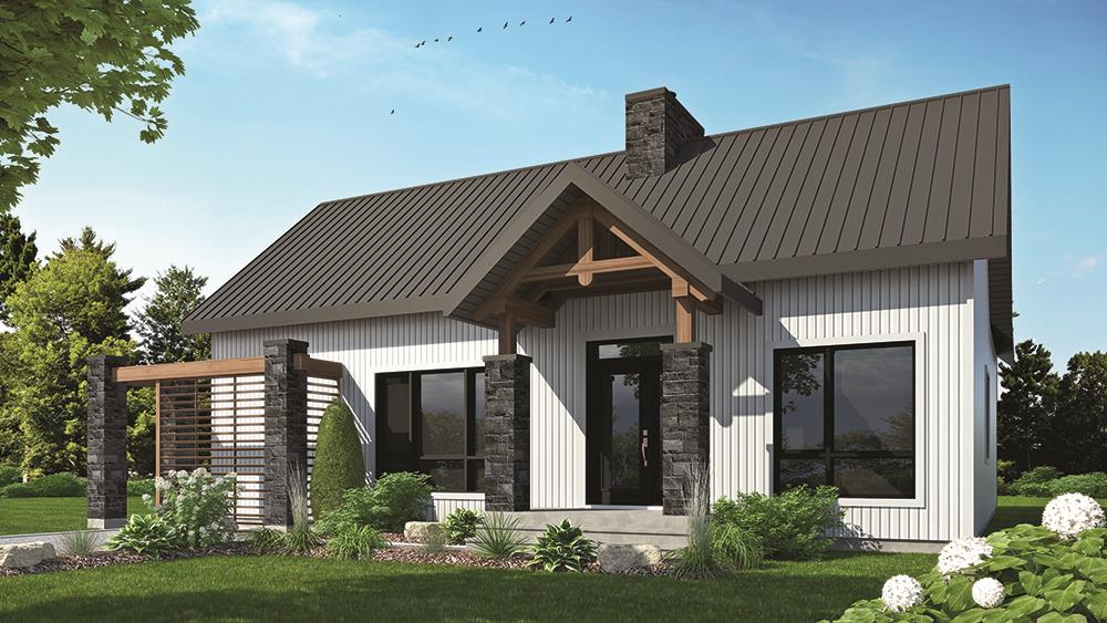 Color rendering of Country home plan (ThePlanCollection: House Plan #126-1836)