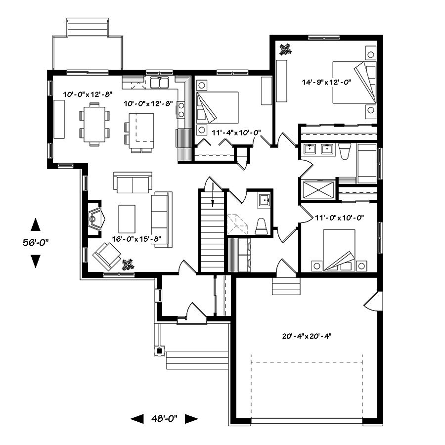 3 bedrm 1513 sq ft craftsman house plan 126 1837 for 126 simcoe floor plan