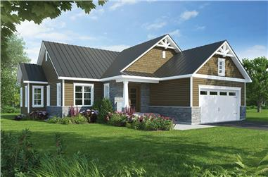 Front elevation of Craftsman home (ThePlanCollection: House Plan #126-1837)