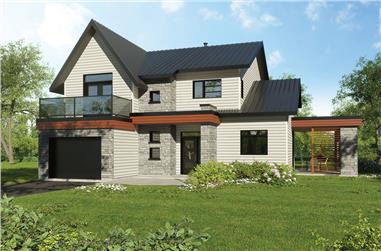3-Bedroom, 1944 Sq Ft Contemporary Home Plan - 126-1838 - Main Exterior