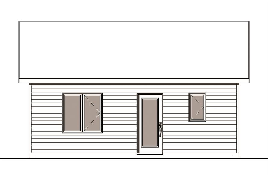 Home Plan Rear Elevation of this 2-Bedroom,629 Sq Ft Plan -126-1839