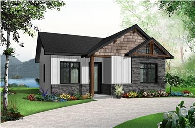 2-Bedroom, 629 Sq Ft Modern Home Plan - 126-1839 - Main Exterior