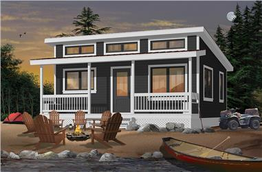 1-Bedroom, 576 Sq Ft Cottage House Plan - 126-1841 - Front Exterior