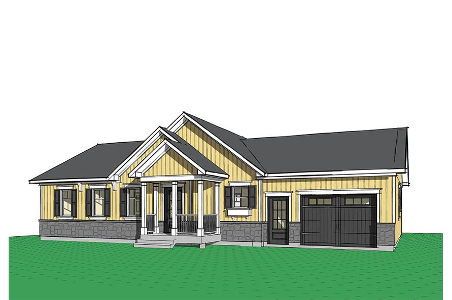 2-Bedroom, 1443 Sq Ft Ranch House Plan - 126-1843 - Front Exterior