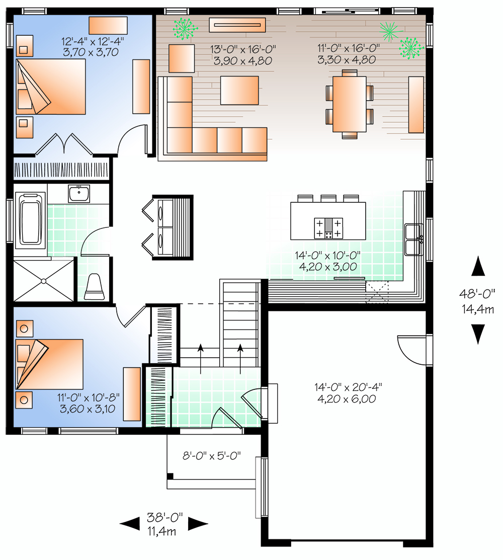 2 bedrm 1283 sq ft transitional house plan 126 1845 for 126 simcoe floor plan