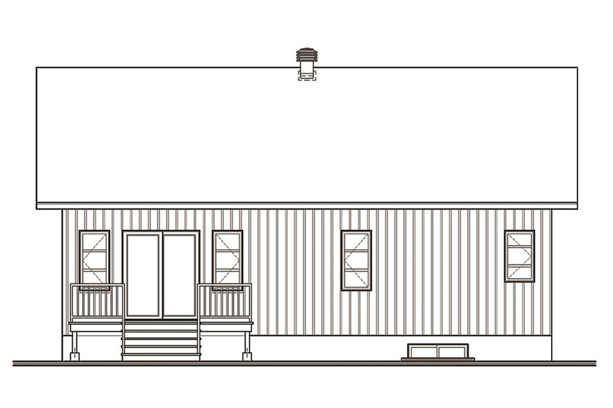Home Plan Rear Elevation of this 2-Bedroom,1283 Sq Ft Plan -126-1845