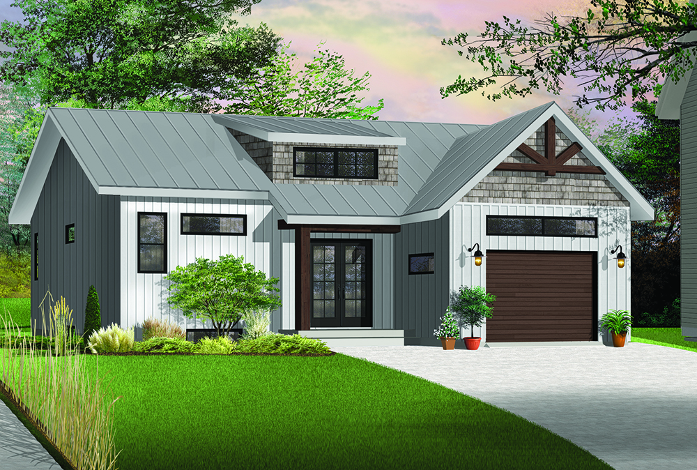 2 bedrm 1283 sq ft transitional house plan 126 1845 for Transitional house plans