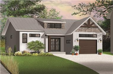 Front elevation of Transitional home (ThePlanCollection: House Plan #126-1845)