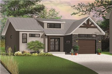 Front elevation of Transitional home (ThePlanCollection: House Plan #126-1846)