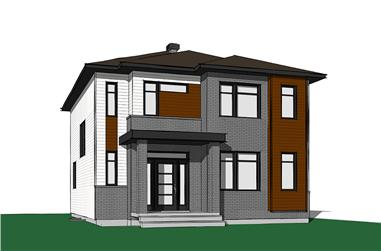 Front elevation of Contemporary home (ThePlanCollection: House Plan #126-1848)