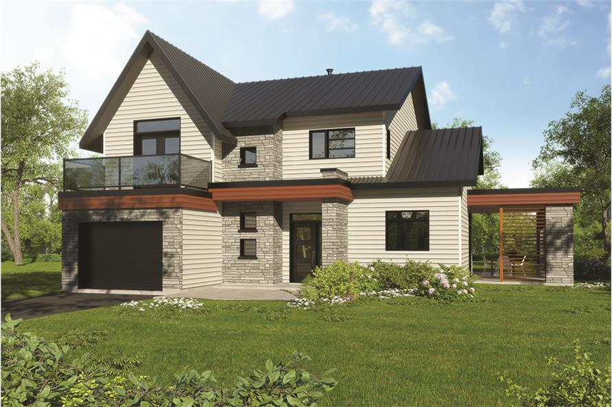 4-Bedroom, 1944 Sq Ft Contemporary Home Plan - 126-1849 - Main Exterior
