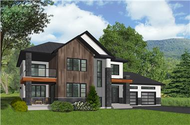 Front elevation of Contemporary home (ThePlanCollection: House Plan #126-1850)