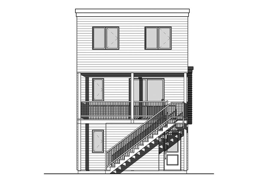 Home Plan Rear Elevation of this 3-Bedroom,1015 Sq Ft Plan -126-1851