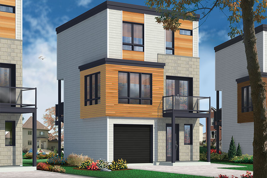 3 Story Modern House Plan 3 Bedroom 1 5 Bath 1015 Sq Ft