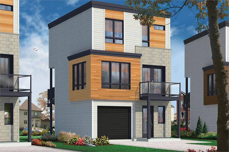 3-Bedroom, 1015 Sq Ft Modern House Plan - 126-1851 - Front Exterior