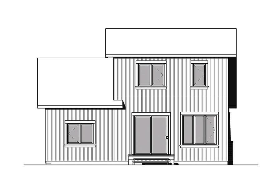 Home Plan Rear Elevation of this 2-Bedroom,900 Sq Ft Plan -126-1852