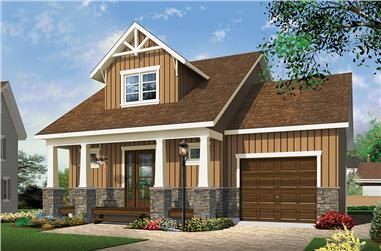 2-Bedroom, 900 Sq Ft Craftsman House Plan - 126-1852 - Front Exterior