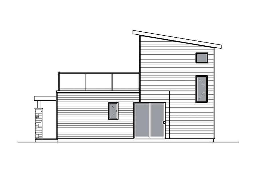 Home Plan Rear Elevation of this 2-Bedroom,924 Sq Ft Plan -126-1853