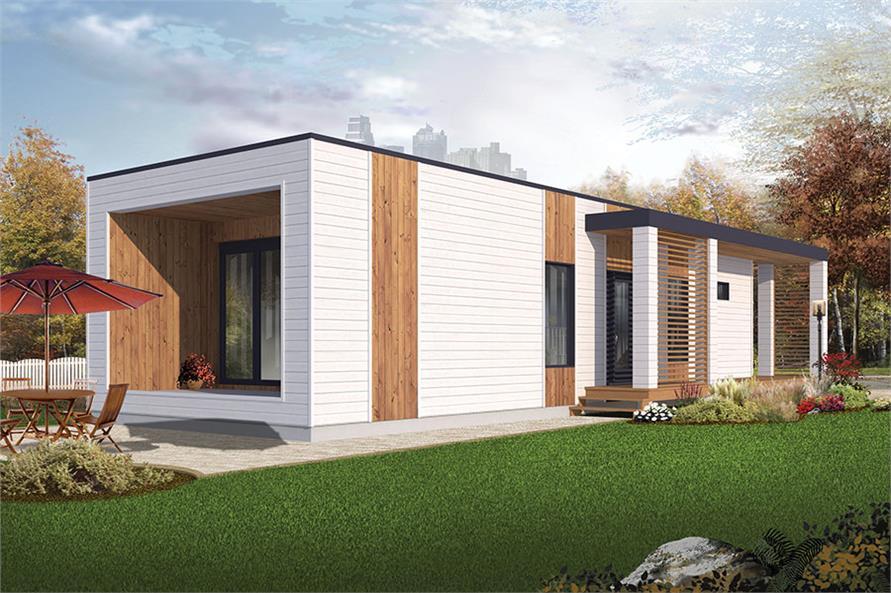Home Plan Rendering of this 2-Bedroom,631 Sq Ft Plan -126-1854