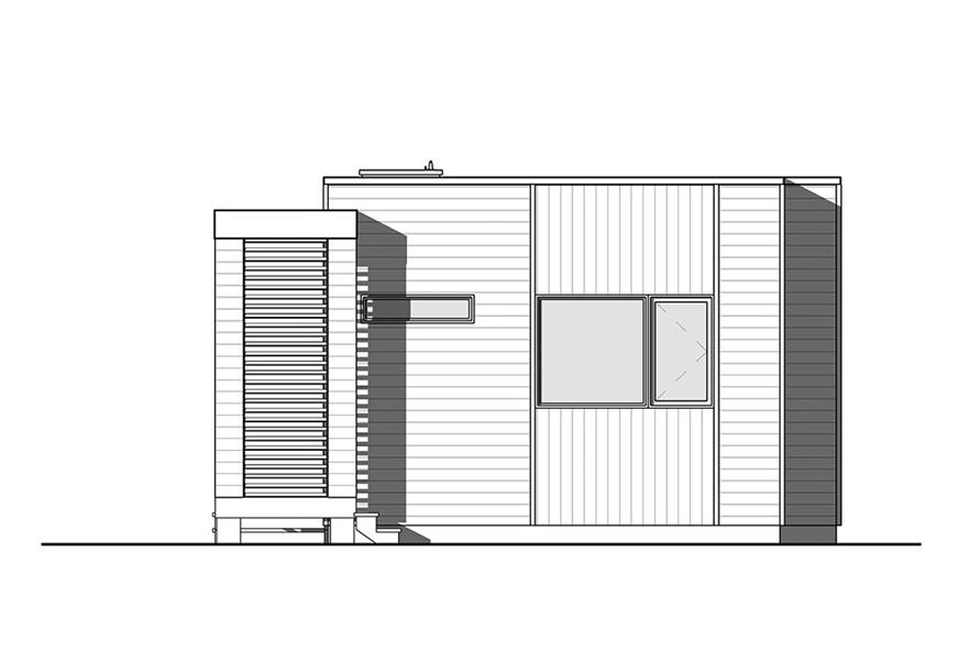 Home Plan Rear Elevation of this 2-Bedroom,631 Sq Ft Plan -126-1854