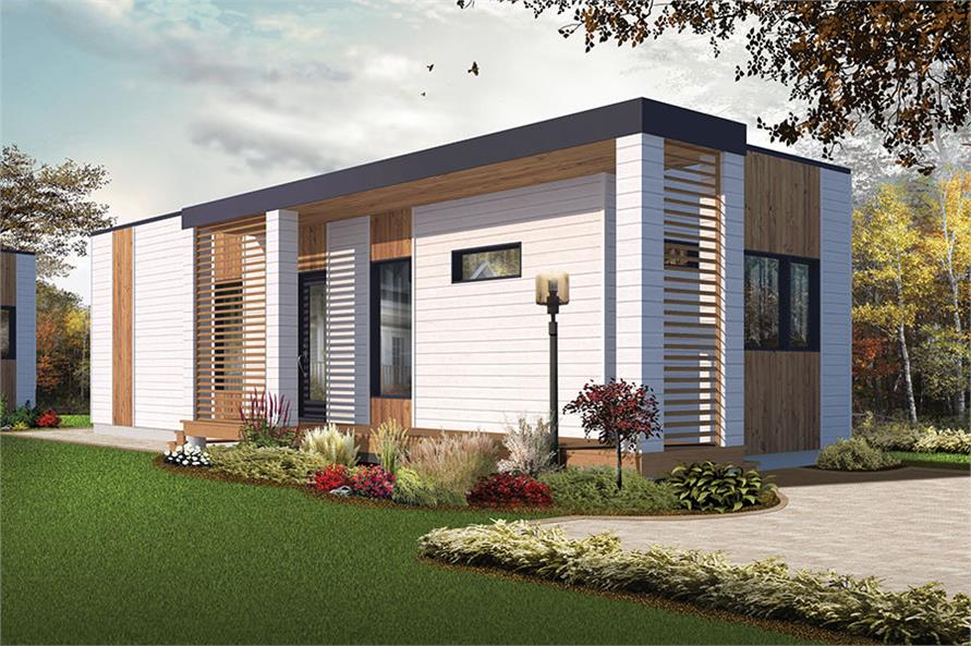 2-Bedroom, 631 Sq Ft Modern House Plan - 126-1854 - Front Exterior