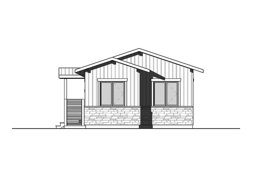 Home Plan Rear Elevation of this 2-Bedroom,700 Sq Ft Plan -126-1855