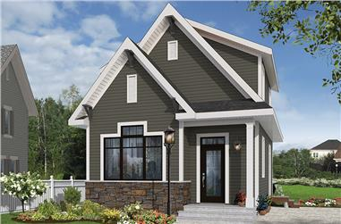 3-Bedroom, 943 Sq Ft Country House Plan - 126-1856 - Front Exterior