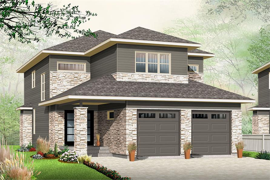 3-Bedroom, 2288 Sq Ft Contemporary Home Plan - 126-1857 - Main Exterior