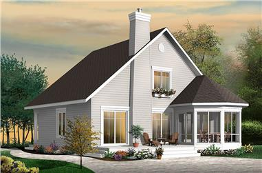 color rendering of Cape Cod home plan (ThePlanCollection: House Plan #126-1859)