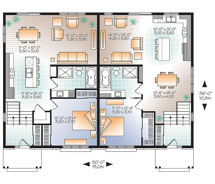Multi-Unit House Plan #126-1860: 3 Bedrm, 3400 Sq Ft Per