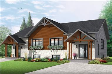 6-Bedroom, 3400 Sq Ft Multi-Unit House Plan - 126-1860 - Front Exterior