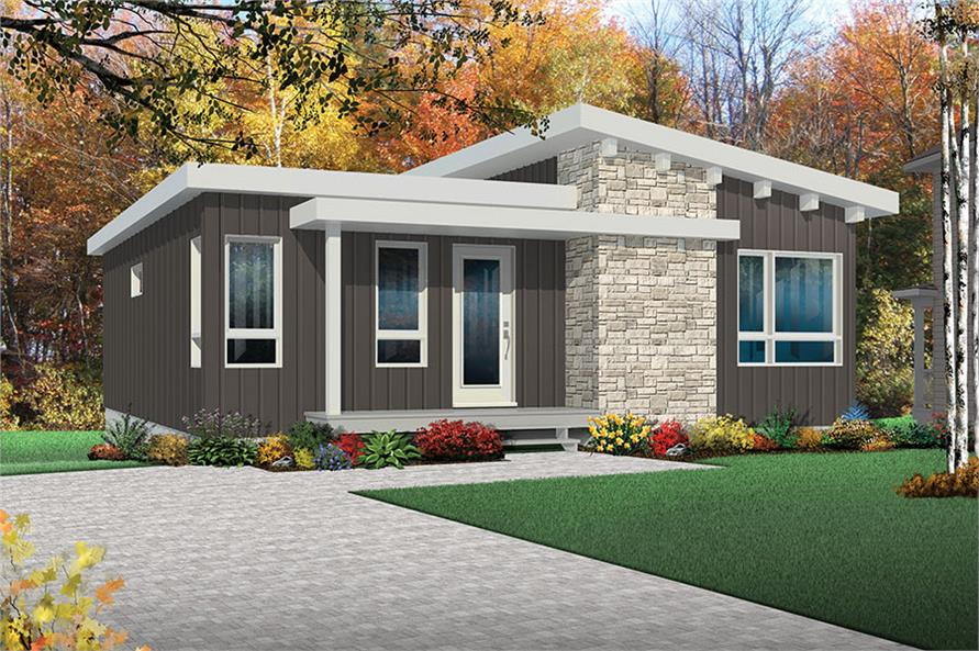 4-Bedroom, 2064 Sq Ft Contemporary House Plan - 126-1870 - Front Exterior