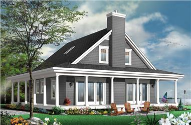 4-Bedroom, 1857 Sq Ft Country Home Plan - 126-1876 - Main Exterior