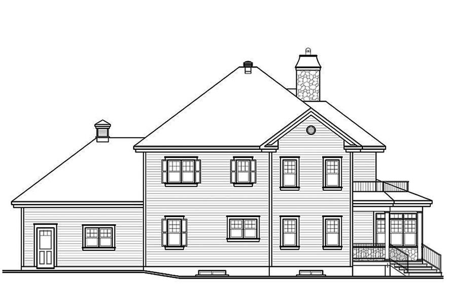 Home Plan Rear Elevation of this 4-Bedroom,2521 Sq Ft Plan -126-1884