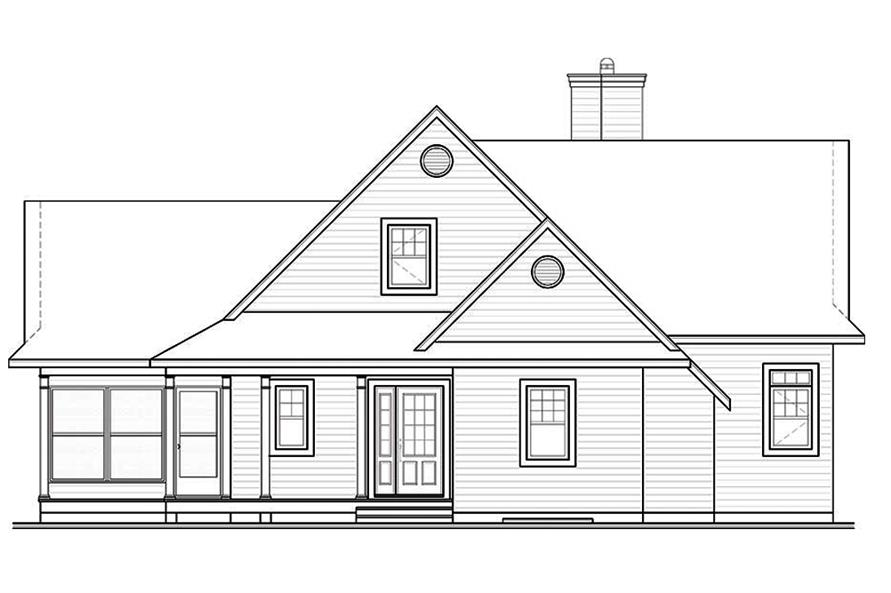 Home Plan Rear Elevation of this 4-Bedroom,2416 Sq Ft Plan -126-1889