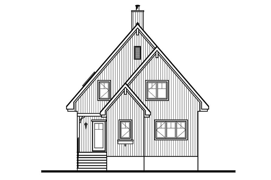 Home Plan Rear Elevation of this 3-Bedroom,1301 Sq Ft Plan -126-1890