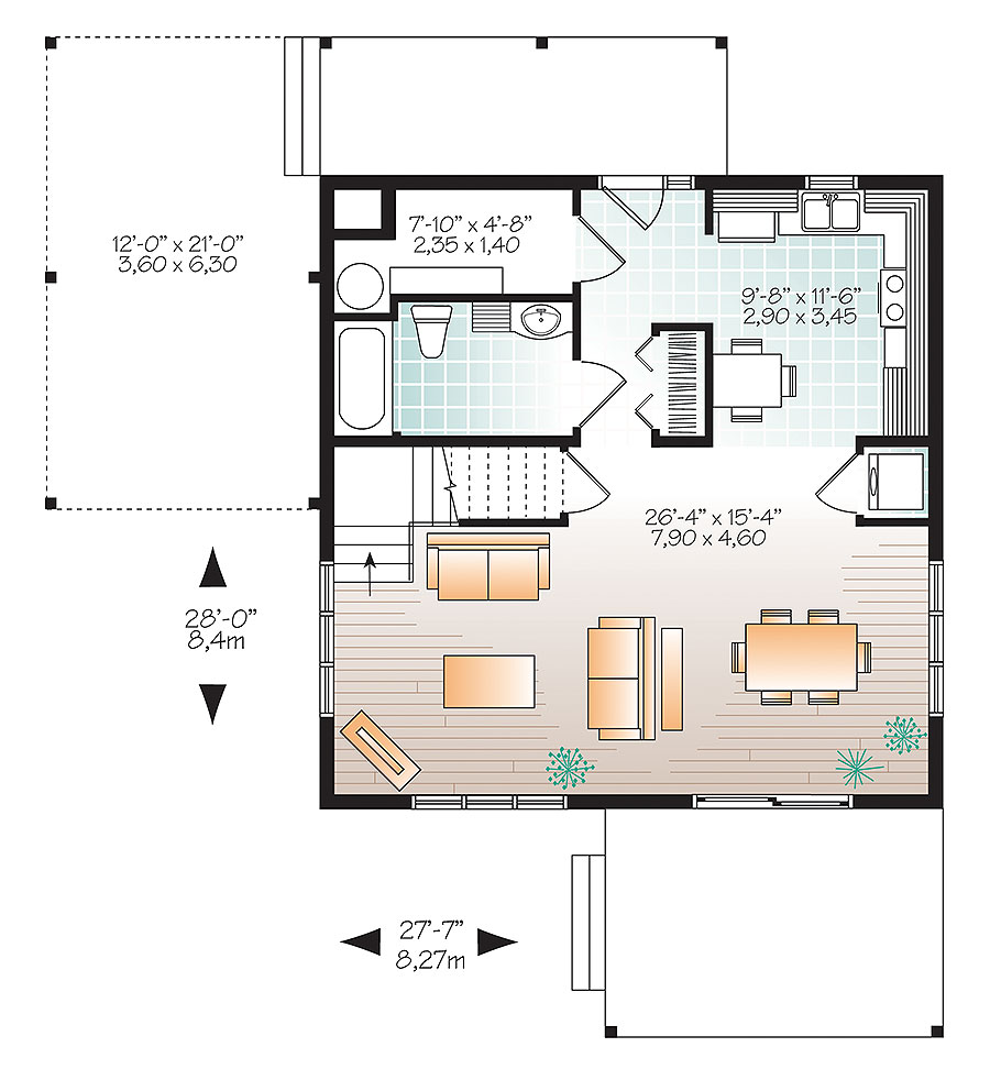 2 bedrm 1200 sq ft contemporary house plan 126 1892 for Cost to build 1200 sq ft cabin