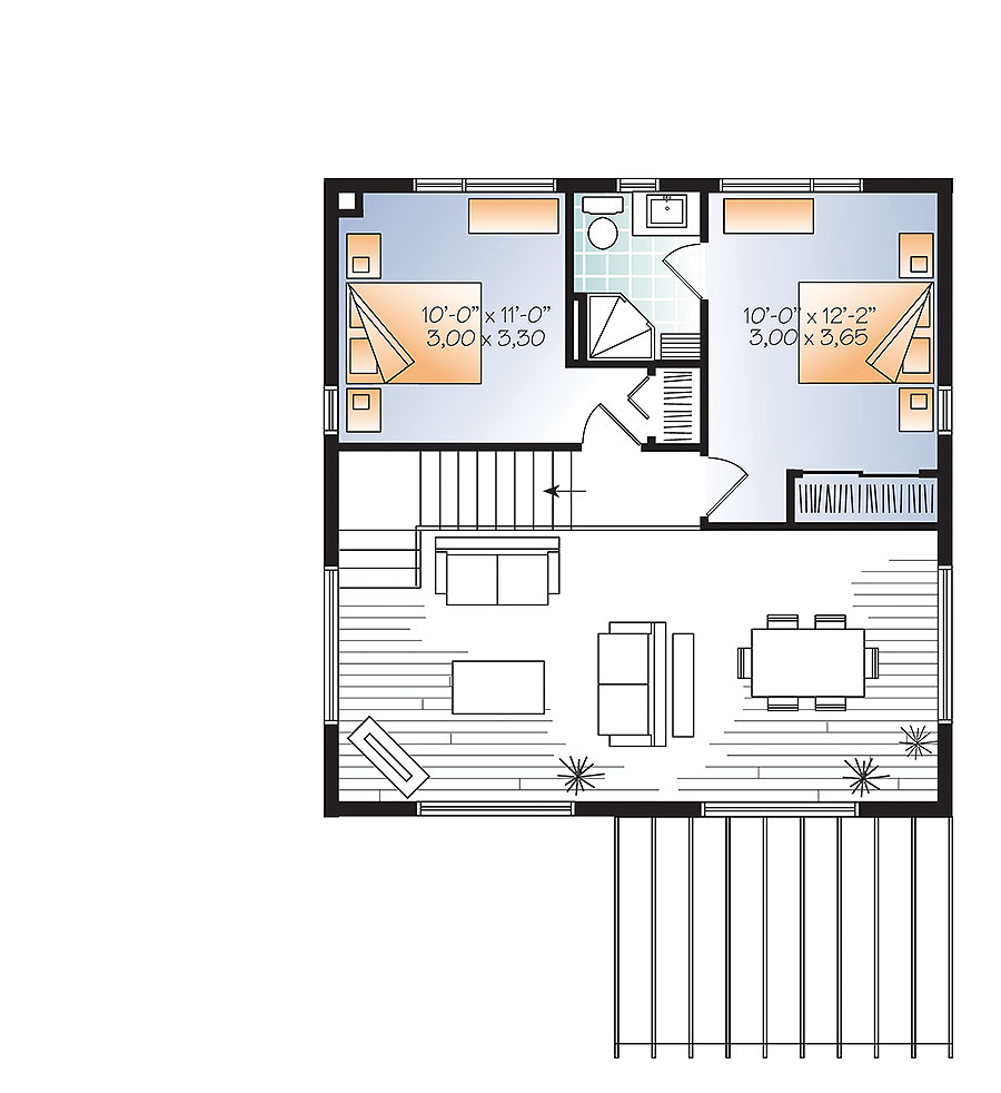 2 bedrm 1200 sq ft contemporary house plan 126 1892 - Modern home designs and floor plans ...