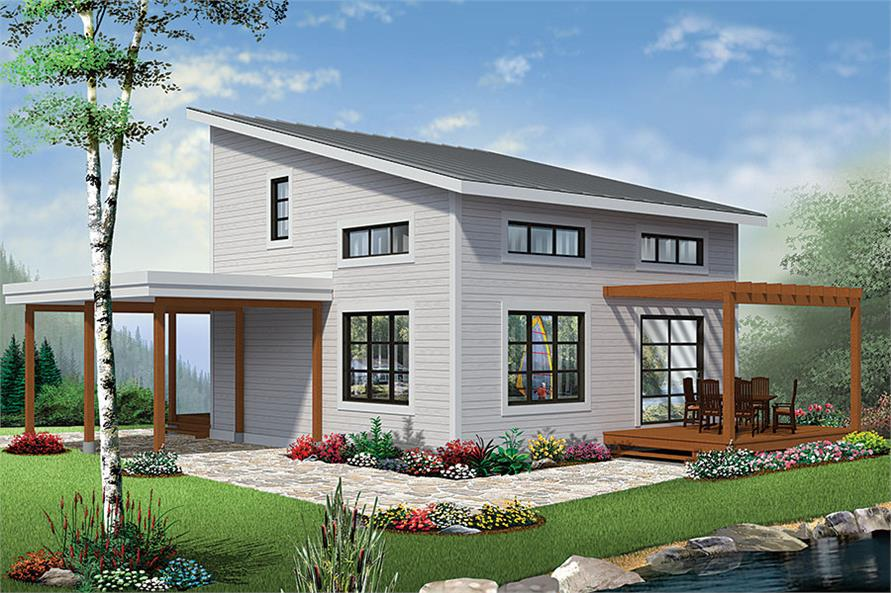 2-Bedroom, 1200 Sq Ft Contemporary Home Plan - 126-1892 - Main Exterior