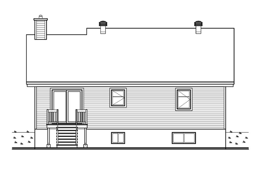 Home Plan Rear Elevation of this 2-Bedroom,1102 Sq Ft Plan -126-1896